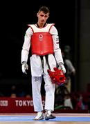 24 July 2021; Jack Woolley of Ireland after defeat to Lucas Guzman of Argentina during the men's -58Kg taekwondo round of 16 at the Makuhari Messe Hall during the 2020 Tokyo Summer Olympic Games in Tokyo, Japan. Photo by Brendan Moran/Sportsfile