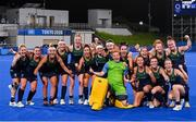 24 July 2021; Team Ireland celebrate following victory in the Women's Pool A Group Stage match between Ireland and South Africa at the Oi Hockey Stadium during the 2020 Tokyo Summer Olympic Games in Tokyo, Japan. Photo by Ramsey Cardy/Sportsfile