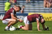 24 July 2021; Joe Canning of Galway, left, and Aidan Harte react after their side's defeat in the GAA Hurling All-Ireland Senior Championship Round 2 match between Waterford and Galway at Semple Stadium in Thurles, Tipperary. Photo by Harry Murphy/Sportsfile