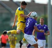 24 July 2021; Russell Quirke of Fairview Rangers in action against Jordan Mustoe of Finn Harps during the FAI Cup First Round match between Fairview Rangers and Finn Harps at Fairview Rangers AFC in Limerick. Photo by Michael P Ryan/Sportsfile