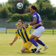 24 July 2021; Russell Quirke of Fairview Rangers in action against Will Seymore of Finn Harps during the FAI Cup First Round match between Fairview Rangers and Finn Harps at Fairview Rangers AFC in Limerick. Photo by Michael P Ryan/Sportsfile