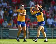23 July 2021; Clare players John Conlon, right, and Cathal Malone protest to referee John Keenan during the GAA Hurling All-Ireland Senior Championship Round 2 match between Clare and Cork at LIT Gaelic Grounds in Limerick. Photo by Eóin Noonan/Sportsfile