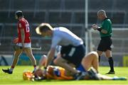 23 July 2021; Jack O'Connor of Cork leaves the pitch after being shown a red card by referee John Keenan during the GAA Hurling All-Ireland Senior Championship Round 2 match between Clare and Cork at LIT Gaelic Grounds in Limerick. Photo by Eóin Noonan/Sportsfile