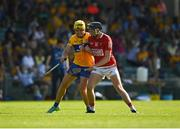 23 July 2021; Jack O'Connor of Cork with Rory Hayes of Clare during the GAA Hurling All-Ireland Senior Championship Round 2 match between Clare and Cork at LIT Gaelic Grounds in Limerick. Photo by Eóin Noonan/Sportsfile