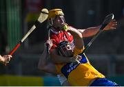 23 July 2021; Tony Kelly of Clare is fouled for a penalty by Niall O'Leary of Cork during the GAA Hurling All-Ireland Senior Championship Round 2 match between Clare and Cork at LIT Gaelic Grounds in Limerick. Photo by Piaras Ó Mídheach/Sportsfile