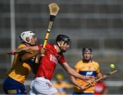 23 July 2021; Robert Downey of Cork in action against Aron Shanagher of Clare during the GAA Hurling All-Ireland Senior Championship Round 2 match between Clare and Cork at LIT Gaelic Grounds in Limerick. Photo by Piaras Ó Mídheach/Sportsfile