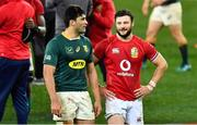 24 July 2021; Robbie Henshaw of the British and Irish Lions and Damian de Allende of South Africa after the first test of the British and Irish Lions tour match between South Africa and British and Irish Lions at Cape Town Stadium in Cape Town, South Africa. Photo by Ashley Vlotman/Sportsfile