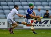 24 July 2021; Ross King of Laois in action against Noel Conaty of Westmeath during the Allianz Hurling League Division 1 Relegation Play-off match between Laois and Westmeath at MW Hire O'Moore Park in Portlaoise, Co Laois. Photo by Harry Murphy/Sportsfile