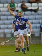 24 July 2021; Ross King of Laois claims a point during the Allianz Hurling League Division 1 Relegation Play-off match between Laois and Westmeath at MW Hire O'Moore Park in Portlaoise, Co Laois. Photo by Harry Murphy/Sportsfile