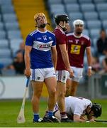 24 July 2021; Charles Dwyer of Laois reacts to a free out or a foul on Westmeath goalkeeper Noel Conaty during the Allianz Hurling League Division 1 Relegation Play-off match between Laois and Westmeath at MW Hire O'Moore Park in Portlaoise, Co Laois. Photo by Harry Murphy/Sportsfile
