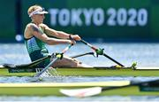 25 July 2021; Sanita Pušpure of Ireland on her way to finishing 1st in the Women's Single Sculls quarter-final at the Sea Forest Waterway during the 2020 Tokyo Summer Olympic Games in Tokyo, Japan. Photo by Seb Daly/Sportsfile