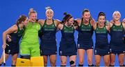 24 July 2021; Ireland players, from left, Katie Mullan, Ayeisha McFerran, Elena Tice, Roisin Upton, Deirdre Duke, Anna O'Flanagan and Chloe Watkins before the Women's Pool A Group Stage match between Ireland and South Africa at the Oi Hockey Stadium during the 2020 Tokyo Summer Olympic Games in Tokyo, Japan. Photo by Ramsey Cardy/Sportsfile