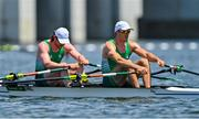 25 July 2021; Ronan Byrne, left, and Philip Doyle of Ireland react after finishing last in the Men's Double Skulls semi-finals A/B at the Sea Forest Waterway during the 2020 Tokyo Summer Olympic Games in Tokyo, Japan. Photo by Seb Daly/Sportsfile