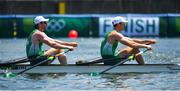 25 July 2021; Ronan Byrne, left, and Philip Doyle of Ireland cross the line to finish last in the Men's Double Skulls semi-finals A/B at the Sea Forest Waterway during the 2020 Tokyo Summer Olympic Games in Tokyo, Japan. Photo by Seb Daly/Sportsfile