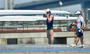 25 July 2021; Ronan Byrne of Ireland after finishing in last place with team-mate Philip Doyle in the Men's Double Skulls semi-finals A/B at the Sea Forest Waterway during the 2020 Tokyo Summer Olympic Games in Tokyo, Japan. Photo by Seb Daly/Sportsfile