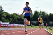25 July 2021; Cian McPhillips of Longford AC, left, on his way to winning the Men's 1500m during the Athletics Ireland Summer Games at Carlow IT in Carlow. Photo by Sam Barnes/Sportsfile