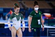 25 July 2021; Megan Ryan of Ireland with Team Ireland gymnastics coach Emma Hamill during women's artistic gymnastics all-round qualification at the Ariake Gymnastics Centre during the 2020 Tokyo Summer Olympic Games in Tokyo, Japan. Photo by Brendan Moran/Sportsfile