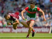 25 July 2021; Damien Comer of Galway in action against Diarmuid O'Connor of Mayo during the Connacht GAA Senior Football Championship Final match between Galway and Mayo at Croke Park in Dublin. Photo by Harry Murphy/Sportsfile