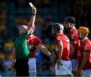 23 July 2021; Referee John Keenan shows a second yellow card to Niall O'Leary, right, before showing him a red card, during the GAA Hurling All-Ireland Senior Championship Round 2 match between Clare and Cork at LIT Gaelic Grounds in Limerick. Photo by Piaras Ó Mídheach/Sportsfile