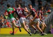 25 July 2021; Shane Walsh of Galway celebrates with Paul Kelly after scoring his side's first goal during the Connacht GAA Senior Football Championship Final match between Galway and Mayo at Croke Park in Dublin. Photo by Harry Murphy/Sportsfile