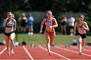 25 July 2021; Sarah Quinn of St Colmans South Mayo AC, centre, competing in the Women's 100m during the Athletics Ireland Summer Games at Carlow IT in Carlow. Photo by Sam Barnes/Sportsfile
