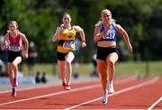 25 July 2021; Catherine Mcmanus of Dublin City Harriers AC, right, competing in the Women's 100m competing in the Women's 100m  during the Athletics Ireland Summer Games at Carlow IT in Carlow. Photo by Sam Barnes/Sportsfile