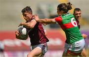25 July 2021; Johnny Heaney of Galway in action against Oisín Mullen of Mayo during the Connacht GAA Senior Football Championship Final match between Galway and Mayo at Croke Park in Dublin. Photo by Harry Murphy/Sportsfile