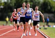 25 July 2021; Philip Marron of Ratoath AC, Meath, centre, on his way to winning the Men's 800m Heat 1 during the Athletics Ireland Summer Games at Carlow IT in Carlow. Photo by Sam Barnes/Sportsfile