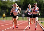25 July 2021; Athletes, from left, Cheryl Nolan of St Abbans AC, Carlow, Niamh Kearney of Raheny Shamrock AC, Dublin, and Sarah Hosey of Dooneen AC, Limerick, competing in the Women's 800m during the Athletics Ireland Summer Games at Carlow IT in Carlow. Photo by Sam Barnes/Sportsfile