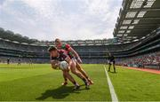 25 July 2021; Johnny Heaney of Galway in action against Bryan Walsh of Mayo during the Connacht GAA Senior Football Championship Final match between Galway and Mayo at Croke Park in Dublin. Photo by Ray McManus/Sportsfile