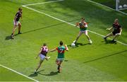 25 July 2021; Shane Walsh of Galway scores his side's first goal past Rob Hennelly of Mayo during the Connacht GAA Senior Football Championship Final match between Galway and Mayo at Croke Park in Dublin. Photo by Daire Brennan/Sportsfile