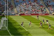 25 July 2021; Shane Walsh of Galway shoots to score his side's first goal during the Connacht GAA Senior Football Championship Final match between Galway and Mayo at Croke Park in Dublin. Photo by Harry Murphy/Sportsfile