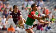 25 July 2021; Aidan O'Shea of Mayo in action against Johnny Heaney during the Connacht GAA Senior Football Championship Final match between Galway and Mayo at Croke Park in Dublin. Photo by Ray McManus/Sportsfile