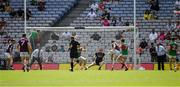 25 July 2021; Shane Walsh of Galway, 14, kicks a goal, in the 19th minute, during the Connacht GAA Senior Football Championship Final match between Galway and Mayo at Croke Park in Dublin. Photo by Ray McManus/Sportsfile