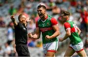 25 July 2021; Aidan O'Shea of Mayo celebrates referee Conor Lane awarding a penalty during the Connacht GAA Senior Football Championship Final match between Galway and Mayo at Croke Park in Dublin. Photo by Harry Murphy/Sportsfile