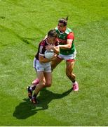 25 July 2021; Johnny Heaney of Galway in action against Oisín Mullen of Mayo during the Connacht GAA Senior Football Championship Final match between Galway and Mayo at Croke Park in Dublin. Photo by Daire Brennan/Sportsfile