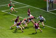 25 July 2021; Matthew Ruane of Mayo is fouled which resulted in a Mayo penalty during the Connacht GAA Senior Football Championship Final match between Galway and Mayo at Croke Park in Dublin. Photo by Daire Brennan/Sportsfile