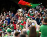 25 July 2021; Mayo captain Aidan O'Shea lifts the Nestor Cup after the Connacht GAA Senior Football Championship Final match between Galway and Mayo at Croke Park in Dublin. Photo by Harry Murphy/Sportsfile