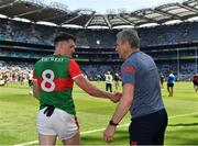 25 July 2021; Mayo manager James Horan shakes hands with man of the match Matthew Ruane of Mayo after the Connacht GAA Senior Football Championship Final match between Galway and Mayo at Croke Park in Dublin. Photo by Harry Murphy/Sportsfile