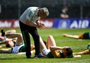 25 July 2021; Kerry manager Peter Keane in conversation with David Clifford in the warm-up before the Munster GAA Football Senior Championship Final match between Kerry and Cork at Fitzgerald Stadium in Killarney, Kerry. Photo by Piaras Ó Mídheach/Sportsfile