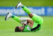 25 July 2021; Limerick goalkeeper Tadhg Ryan lands after making a save during the FAI Cup First Round match between Treaty United and Dundalk at Market's Field in Limerick. Photo by Diarmuid Greene/Sportsfile