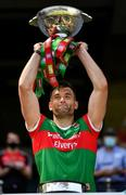 25 July 2021; Mayo captain Aidan O'Shea lifts the Nestor Cup after the Connacht GAA Senior Football Championship Final match between Galway and Mayo at Croke Park in Dublin. Photo by Ray McManus/Sportsfile