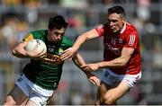 25 July 2021; Paul Murphy of Kerry in action against John O' Rourke of Cork during the Munster GAA Football Senior Championship Final match between Kerry and Cork at Fitzgerald Stadium in Killarney, Kerry. Photo by Piaras Ó Mídheach/Sportsfile
