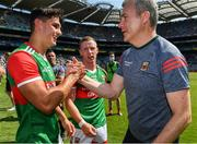 25 July 2021; Mayo manager James Horan and Tommy Conroy celebrate after the Connacht GAA Senior Football Championship Final match between Galway and Mayo at Croke Park in Dublin. Photo by Ray McManus/Sportsfile
