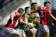 25 July 2021; Tom O'Sullivan of Kerry in action against Michael Hurley of Cork during the Munster GAA Football Senior Championship Final match between Kerry and Cork at Fitzgerald Stadium in Killarney, Kerry. Photo by Piaras Ó Mídheach/Sportsfile