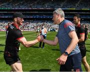 25 July 2021; The Mayo goalkeeper Rob Hennelly is congratulated by manager James Horan after the Connacht GAA Senior Football Championship Final match between Galway and Mayo at Croke Park in Dublin. Photo by Ray McManus/Sportsfile