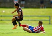 25 July 2021; Han Jeongwoo of Dundalk is tackled by Anthony O'Donnell of Treaty United, after which O'Donnell was shown a straight  red card by referee Neill Doyle, during the FAI Cup First Round match between Treaty United and Dundalk at Market's Field in Limerick. Photo by Diarmuid Greene/Sportsfile
