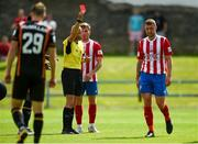 25 July 2021;  Referee Neil Doyle issues a straight red card to Anthony O'Donnell of Treaty United during the FAI Cup First Round match between Treaty United and Dundalk at Market's Field in Limerick. Photo by Diarmuid Greene/Sportsfile