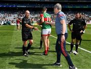 25 July 2021; The Mayo manager James Horan with referee Conor Lane after the Connacht GAA Senior Football Championship Final match between Galway and Mayo at Croke Park in Dublin. Photo by Ray McManus/Sportsfile