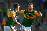 25 July 2021; Paul Geaney of Kerry celebrates with team-mate David Clifford after scoring his side's fourth goal during the Munster GAA Football Senior Championship Final match between Kerry and Cork at Fitzgerald Stadium in Killarney, Kerry. Photo by Eóin Noonan/Sportsfile